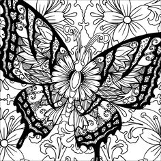 Butterfly Coloring Page, Flower Coloring Pages, Coloring Pages To Print, Colouring Pages, Coloring Pages For Kids, Coloring Books, Diy Y Manualidades, Printable Adult Coloring Pages, Glitter Graphics