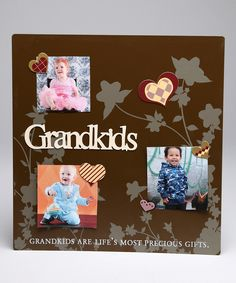 'Grandkids' Magnetic Collage Photo Board:  Metal board painted and decorated and magnets used for holding pictures in place