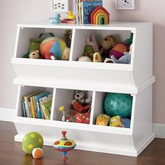 Kids' Toy Boxes: Kids Wooden Primary Stacking Storage 2 and 3 Bin in Toy Boxes