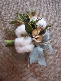 Cotton corsage leather accent ribbon twine rustic
