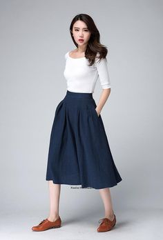 high waist skirt midi skirt knee length skirt dark blue skirt linen skirt pleated skirt A line skirt womens skirts gift 1500 Midi Rock Outfit, Midi Skirt Outfit, Pleated Midi Skirt, High Waisted Skirt, Linen Skirt, Waist Skirt, A Line Skirt Outfits, A Line Skirts, Skirts With Pockets