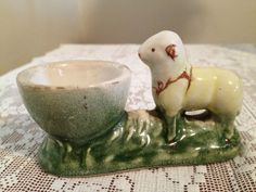 Antique Porcelain Egg Cup with Lamb. Repinned by www.mygrowingtraditions.com