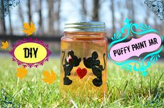 This is the translated version of DIY Crafts: Puffy Paint Jar for my Indian friens. Ready to puffy paint your jar! Glass Jars, Mason Jars, Puffy Paint, Craft Tutorials, Craft Ideas, Painted Jars, Disney Inspired, Preschool Activities, Fun Crafts