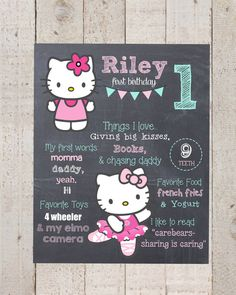 First Birthday Chalkboard- Custom First Birthday Sign-Hello Kitty- Chalkboard Stats--Custom File--Hello Kitty Birthday- First Birthday on Etsy, $15.00