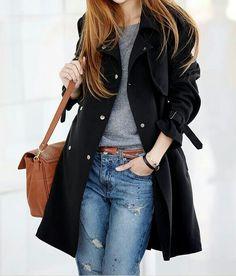 My style #blacktrenchcoat #denim #graytshirt