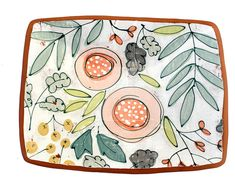 Illustration __________________________________________________________________________________________ This piece features a hand drawn and painted floral illustrations over a worn background. Ceramic Plates, Ceramic Pottery, Pottery Art, Ceramic Painting, Ceramic Art, Crackpot Café, Mug Design, Pottery Painting Designs, Paint Your Own Pottery