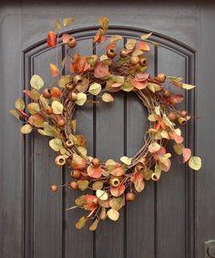 Fall Wreath-Autumn Wreath Artificial Foliage- Wispy Twig-Holiday…