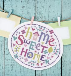 """♥ Home Sweet Home cross stitch by Jayne Schofield.  Jayne has a cross stitch book  called """"Home and Heart Cross Stitch in the Garden"""" via Tuva Publishing Company. ♥"""