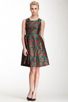 Pink Martini Holiday Pleated Floral Print Dress