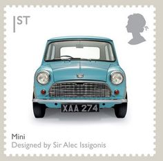 Royal Mail - British Design Classics Stamp, The Mini, 2009 Royal Mail Stamps, Uk Stamps, Mini Cooper S, Classic Mini, Classic Cars, Classic Auto, Classic Style, Minis, Postage Stamp Art