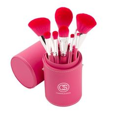 Primrose Brush Collection This sophisticated brush set contains eight elegant, pink handled brushes. The soft, synthetic bristles are perfect for creating a wide variety of looks. All brushes come in a stylish, matching pink leatherine case which doubles as a secure traveling companion and a convenient brush holder.  This set includes the following brushes: 1. Angled Blush 2. Tapered Powder 3. Flat Buffer 4. Foundation 5. Blender 6. Large Shadow 7. Medium Angle Liner 8. Small Shadow