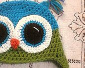Bright Teal and Sparkly Lime Green Owl Hat Size Adult