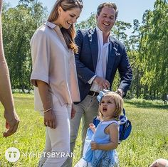 Princess Madeleine of Sweden, Princess Leonore of Sweden and Christopher O'Neill are seen visiting the stables on June 03, 2016 in Gotland, Sweden. Duchess Leonore meet with her horse Haidi of Gotland for the first time.