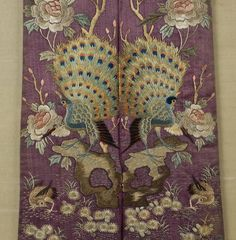 Antique Chinese embroidered purple silk sash : Lot 1431