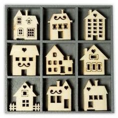 Tiny Wooden Laser Cut Ornaments - Case of 45, Houses