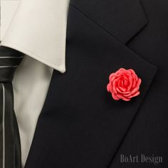 Mini Satin Coral Red Rose/ Kanzashi Flower Lapel Pin/Lapel Pin/Lapel Flower/Mens Lapel Flower/Wedding Accessories/Brooch by BoArtDesign on Etsy