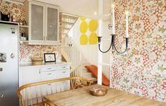 Kitchen with Josef Frank wallpaper.