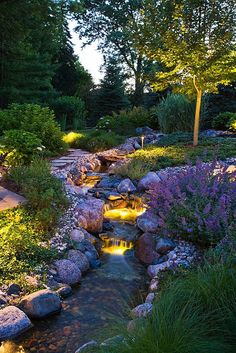Beautiful Garden with Babbling Brook More More