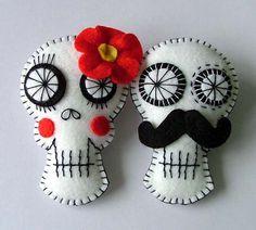 felt sugar skull brooch pins