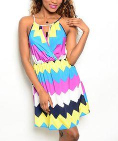 Love this Blue & Pink Color Block Chevron Surplice Dress on #zulily! #zulilyfinds
