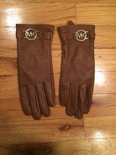 Michael Kors Leather Gloves Brown / Gold Logo Used   | eBay