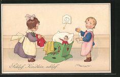 Künstler-AK Fritz Baumgarten: Schlaf´, Kindlein, schlaf´. Mädchen bettet Puppen in Sammeln & Seltenes, Ansichtskarten, Motive | eBay