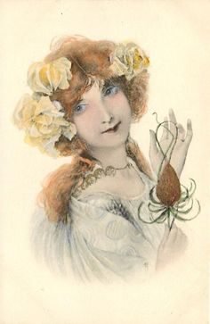 head & shoulders study of beautiful girl with roses in her hair, holding an ornament, turned right, facing forward