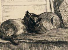 Cats     Sleeping     in     the     Studio                   1922  Théophile  -  Alexandre      STEINLEN Swiss,             black       chalk       on        paper