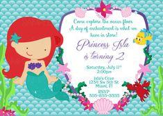 Para imprimir princesa Ariel la pequeña sirena cumpleaños