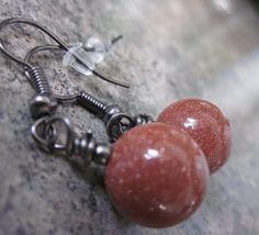 Brown Goldstone & Gunmetal Earrings, by philosophiacreations on Etsy