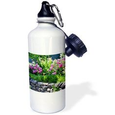 3dRose Romantic Zen Garden with Pink Roses - Flowers - Floral Print, Sports Water Bottle, 21oz