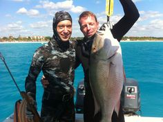 close friends in the middle of a spearfishing trip in playa del Carmen. I just shot a great Mutton Snapper