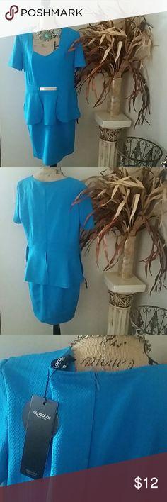 Beautiful blue peplum dress Blue peplum short sleeve dress. Gold attached small plate belt with back zip. Priced to sell! Dresses Mini