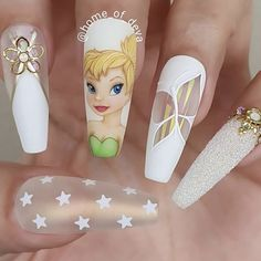 """your success is our reward"" – Ugly Duckling Nails Inc. - Beautiful Tinkerbell tips by Ugly Duckling Art Educator 😍 Ugly Duckling Nails is dedicated to keeping love, support, and positivity flowing in our industry ❤️ Disney Acrylic Nails, Summer Acrylic Nails, Best Acrylic Nails, Acrylic Nail Designs, Disney Nails Art, Summer Nails, Acrylic Art, Cute Nails, Pretty Nails"