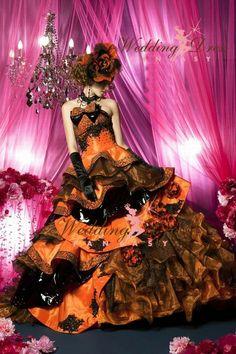 Halloween Wedding Dress in Orange and Black from WeddingDressFantasy.com