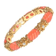 Tiffany & Co  Coral , Gold and Diamond bracelet | From a unique collection of vintage more bracelets at http://www.1stdibs.com/jewelry/bracelets/more-bracelets/