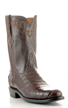 Mens Lucchese Classics Ultra Belly Caiman Boots Sienna #Gc9111