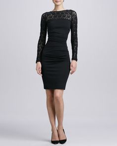 Long-Sleeve Textured Lace Cocktail Dress by Nicole Miller at Neiman Marcus.