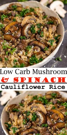 Low Carb Mushroom Easy to make mushroom spinach cauliflower rice The perfect low carb side dish Cauliflower rice recipe keto mushroom cauliflower rice mushroom spinach c. Rice Recipes, Healthy Dinner Recipes, Vegetarian Recipes, Beef Recipes, Cooking Recipes, Salmon Recipes, Chicken Recipes, Pasta Recipes, Seafood Recipes