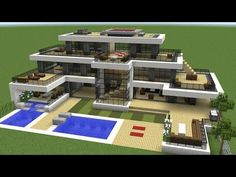 Minecraft Building Tutorial on How to build a Modern Super Mansion. This Minecraft house is huge but easy to build. Minecraft House Plans, Easy Minecraft Houses, Minecraft House Tutorials, Minecraft Room, Minecraft House Designs, Minecraft Decorations, Cool Minecraft, Minecraft Crafts, Minecraft Buildings