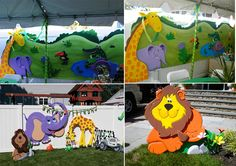 """This picture shows you what you can do with a vivid imagination and a tremendous amount of talent. One of our customers, who is not a professional artist, came up with this idea for their child's birthday party. He carved and glued together thin layers of EPS – ½"""", ¾"""" and 1"""", to create the animal shapes. He then applied a coating and paint to create the amazing finished product you see here."""