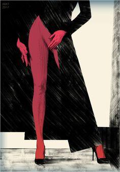 2D Comic Art  ink pen pencil Draw Girl Nude Red shoe legs