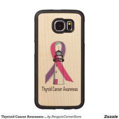 Thyrioid Cancer Awareness Ribbon Wood Phone Case
