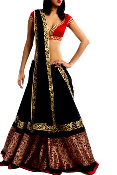 Black & red rawsilk lehenga with brocade Indian Dresses, Indian Outfits, Western Outfits, Indian Attire, Indian Wear, Kurta Designs, Blouse Designs, Ethnic Fashion, Indian Fashion
