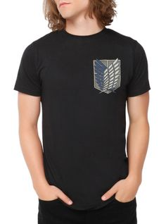 Attack On Titan T-shirt with the Scouting Legion logo.
