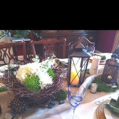 Rustic table setting for a St. Patricks Day dinner party