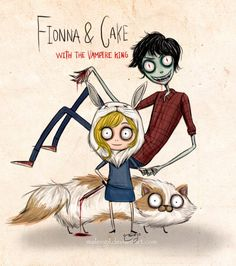 Adventure Time - Fionna, Cake and Marshall Lee, Tim Burton style