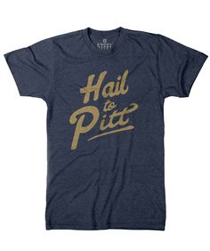 For this shirt, we went with a Navy poly-cotton tee and a fashion fit. Slightly slimmer than our athletic fit. Exceptionally soft, and has a textured look that adds to its vintage charm. May shrink a bit after the first wash and dry. Officially licensed product.
