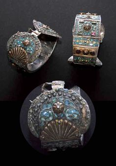 Morocco | Pair of anklets ~ Khelkhals; silver, enamel and coloured stones | Fez to tlemcen region | ca. 18th century | 60,000 - 80,000 Dh (May '10)