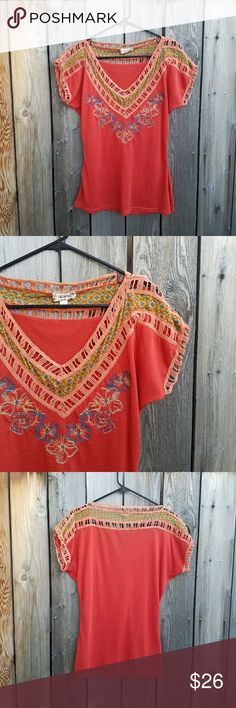 Anthropologie Lulumari Orange Embroidered Top Excellent condition  Feel free to ask me any additional questions! Reasonable offers are considered. No trades, or modeling. Happy Poshing! Anthropologie Tops